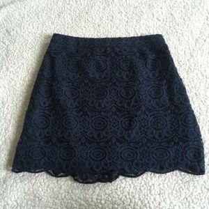 Hollister Zippered Blue Crochet Skirt